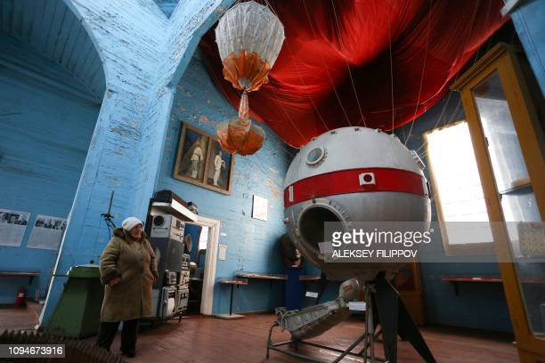 TOPSHOT A guide waits for visitors at the space museum located in Saint Paraskeva church in PereyaslavKhemlnytsky a small town some 80 kilometers...