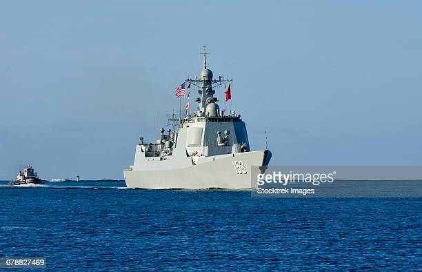 guided-missile destroyer xian of the chinese peoples liberation army navy. - chinese people's liberation army stock photos and pictures