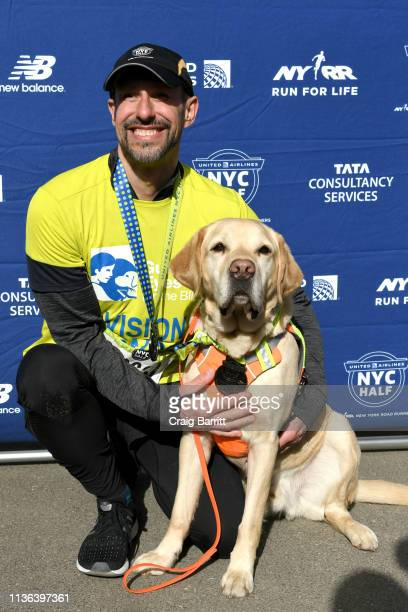 Guiding Eyes for the Blind President and CEO Thomas Panek runs the firstever 2019 United Airlines NYC Half Led Completely by Guide Dogs with Gus on...