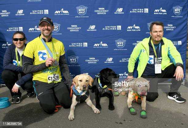 ONLY Guiding Eyes for the Blind President and CEO Thomas Panek runs the first ever 2019 United Airlines NYC Half Led Completely by Guide Dogs Waffle...