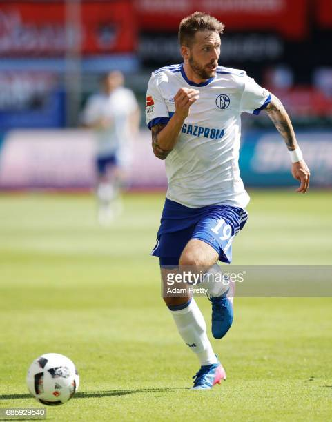 Guido Bergstaller of Schalke 04 in action during the Bundesliga match between FC Ingolstadt 04 and FC Schalke 04 at Audi Sportpark on May 20 2017 in...