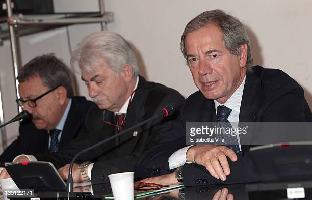 Guido Bertolaso and Mario Costa attend the International EMS Congress at Campidoglio on June 8 2010 in Rome Italy The event is hosted by Belstaff in...