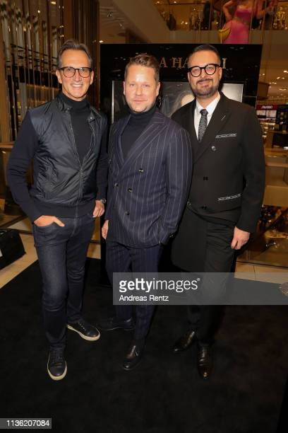 Guido Boehler Bastian Ammelounx and Oliver Christian attend the 'Easy to pack brushes' launch by Laila Hamidi at Breuninger on March 16 2019 in...