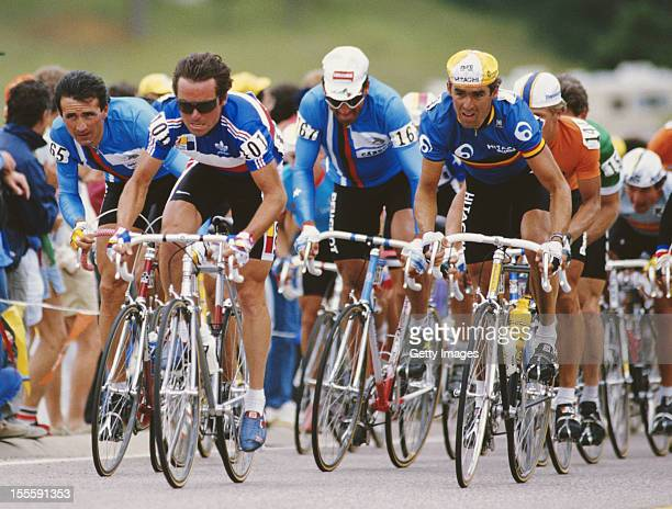 Guido Bontempi ,Bernard Hinault of France and Gianbattista Baronchelli of Italy during the Road Cycling World Championships on 6th September 1986 in...