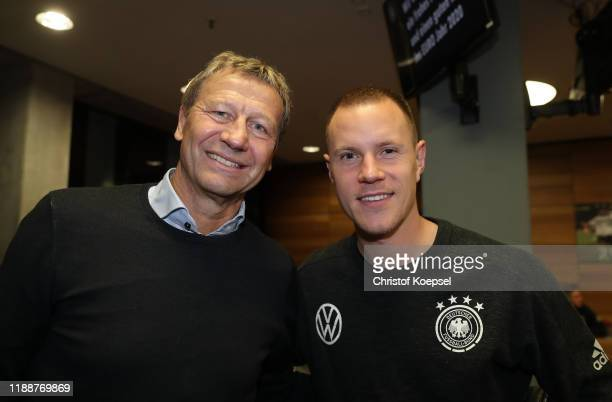 Guido Buchwald and Marc-Adre ter Stegen attend the Club Of Former National Players Meeting at Commerzbank Arena on November 19, 2019 in Frankfurt am...