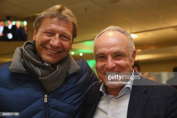 Guido Buchwald and Michael Rummenigge pose during the Club of Former National Players Meeting at Signal Iduna Park on March 22 2017 in Dortmund...