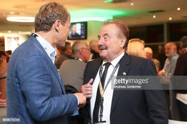Guido Buchwald and Wolfgang Tobien at the club of former national players meeting after the FIFA 2018 World Cup Qualifier between Germany and...