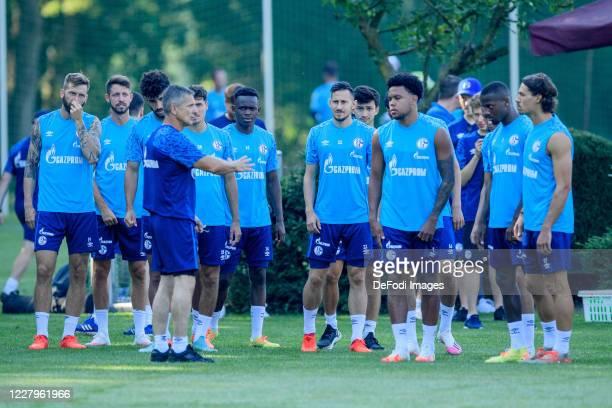 Guido Burgstaller of FC Schalke 04, Mark Uth of FC Schalke 04, Athletic coach Werner Leuthard of FC Schalke 04, Alessandro Schoepf of FC Schalke 04,...