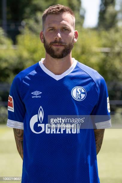 Guido Burgstaller of FC Schalke 04 poses during the team presentation at Veltins Arena on July 16 2018 in Gelsenkirchen Germany