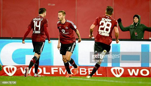 Guido Burgstaller of Nuernberg celebrates after scoring his team's second goal during the Second Bundesliga match between 1. FC Nuernberg and...