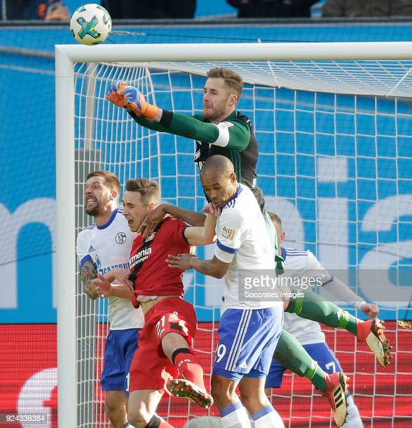 Guido Burgstaller of Schalke 04 Dominik Kohr of Bayer Leverkusen Ralf Fahrmann of Schalke 04 Naldo of Schalke 04 during the German Bundesliga match...