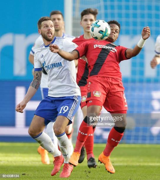 Guido Burgstaller of Schalke 04 Leon Bailey of Bayer Leverkusen during the German Bundesliga match between Bayer Leverkusen v Schalke 04 at the...