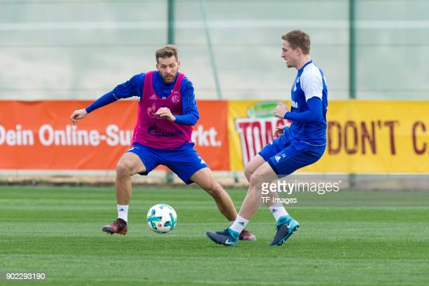 Guido Burgstaller of Schalke and Bastian Oczipka of Schalke battle for the ball during the FC Schalke 04 training camp at Hotel Melia Villaitana on...