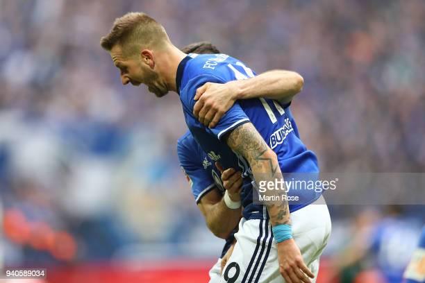 Guido Burgstaller of Schalke celebrates after he scored a goal to make it 20 during the Bundesliga match between FC Schalke 04 and SportClub Freiburg...