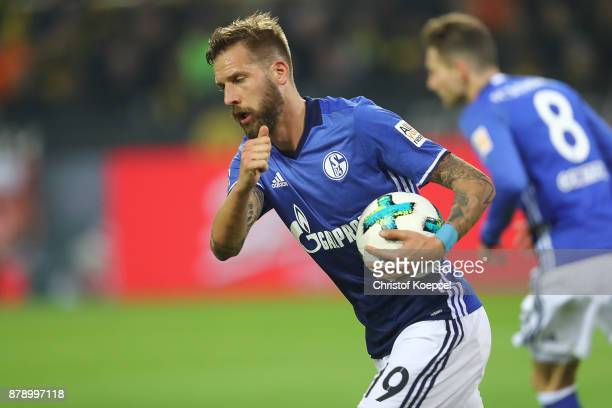 Guido Burgstaller of Schalke celebrates after he scored to make it 10 during the Bundesliga match between Borussia Dortmund and FC Schalke 04 at...