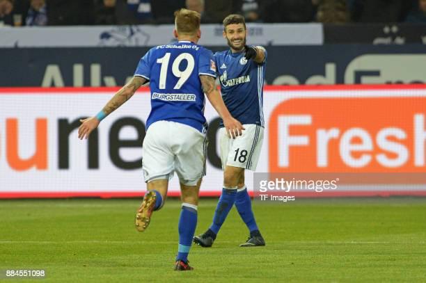 Guido Burgstaller of Schalke celebrates after scoring his team`s first goal during the Bundesliga match between FC Schalke 04 and 1 FC Koeln...