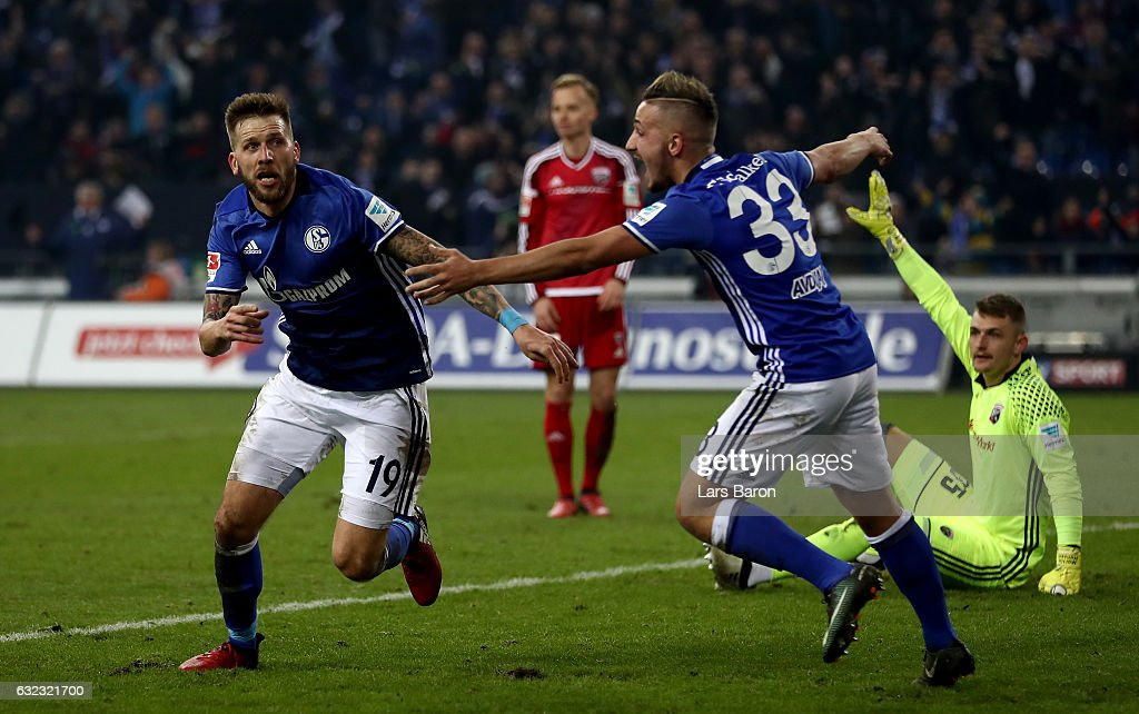 Guido Burgstaller of Schalke celebrates after scoring his teams winning goal during the Bundesliga match between FC Schalke 04 and FC Ingolstadt 04 at Veltins-Arena on January 21, 2017 in Gelsenkirchen, Germany.