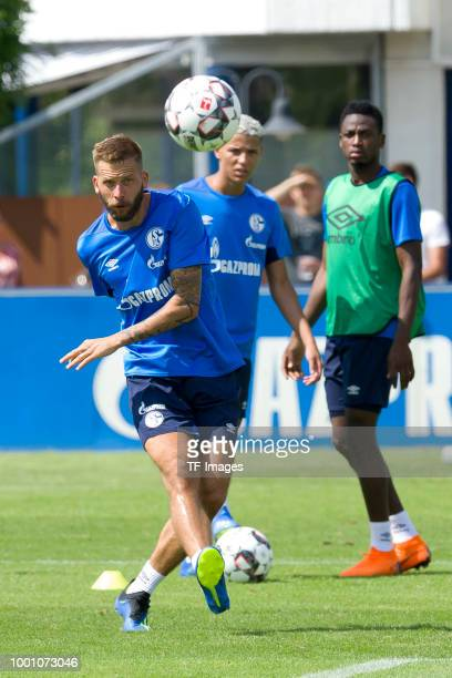 Guido Burgstaller of Schalke controls the ball during a training session at the FC Schalke 04 Training center on July 18 2018 in Gelsenkirchen Germany