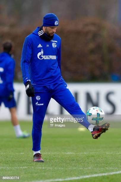 Guido Burgstaller of Schalke controls the ball during a training session at the FC Schalke 04 Training center on December 06 2017 in Gelsenkirchen...