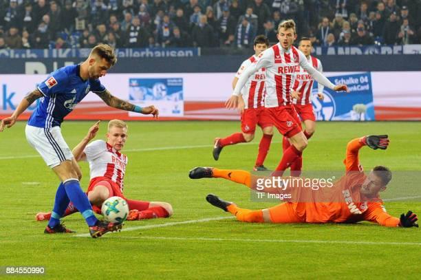 Guido Burgstaller of Schalke controls the ball during the Bundesliga match between FC Schalke 04 and 1 FC Koeln Bundesliga at VeltinsArena on...