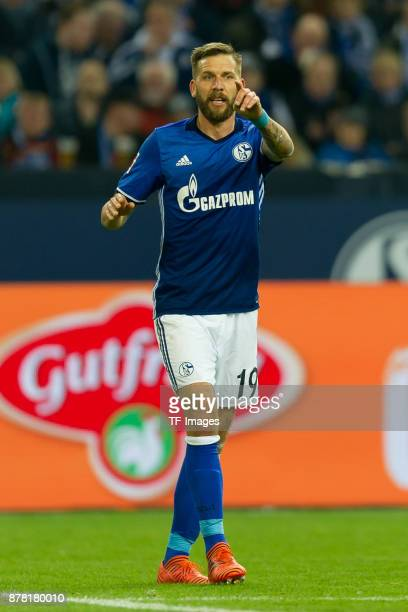 Guido Burgstaller of Schalke gestures during the Bundesliga match between FC Schalke 04 and Hamburger SV at VeltinsArena on November 19 2017 in...