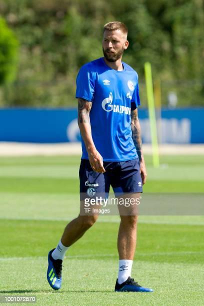 Guido Burgstaller of Schalke looks on during a training session at the FC Schalke 04 Training center on July 18 2018 in Gelsenkirchen Germany
