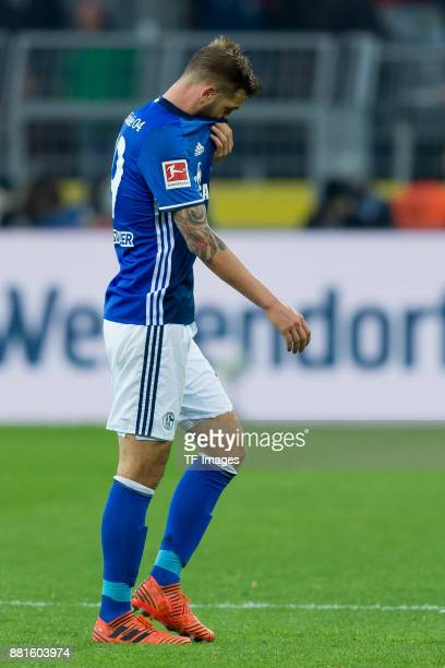 Guido Burgstaller of Schalke looks on during the Bundesliga match between Borussia Dortmund and FC Schalke 04 at Signal Iduna Park on November 25...