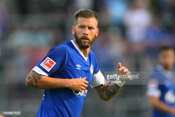Guido Burgstaller of Schalke looks on during the Friendly match between Schwarz Weiss Essen and FC Schalke 04 on July 21 2018 in Essen Germany