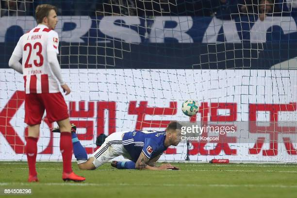 Guido Burgstaller of Schalke on the pitch after he scored a goal to make it 1:0 during the Bundesliga match between FC Schalke 04 and 1. FC Koeln at...