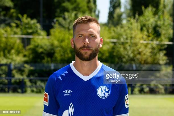 Guido Burgstaller of Schalke poses during the team presentation on July 16 2018 in Gelsenkirchen Germany