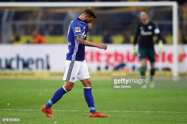 Guido Burgstaller of Schalke reacts at halftime of the Bundesliga match between Borussia Dortmund and FC Schalke 04 at Signal Iduna Park on November...
