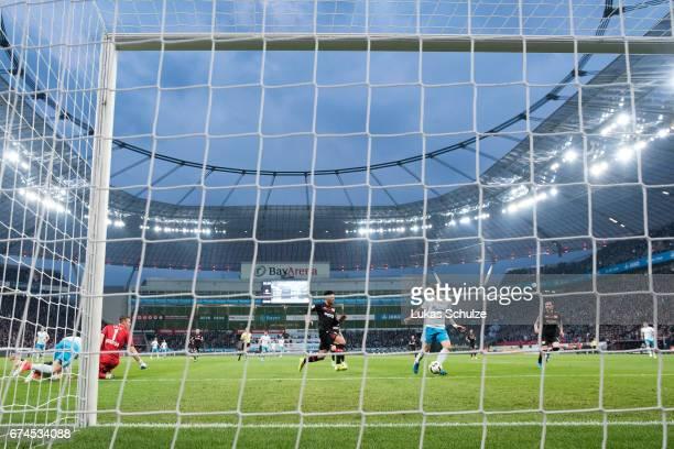 Guido Burgstaller of Schalke scores his teams first goal during the Bundesliga match between Bayer 04 Leverkusen and FC Schalke 04 at BayArena on...