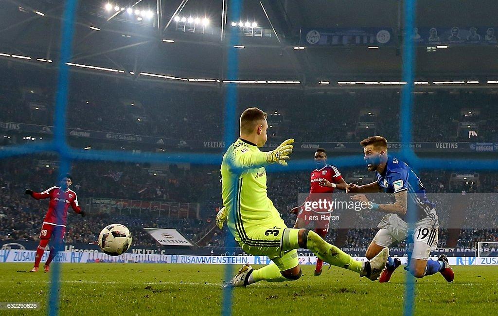 Guido Burgstaller of Schalke scores his teams winning goal during the Bundesliga match between FC Schalke 04 and FC Ingolstadt 04 at Veltins-Arena on January 21, 2017 in Gelsenkirchen, Germany.