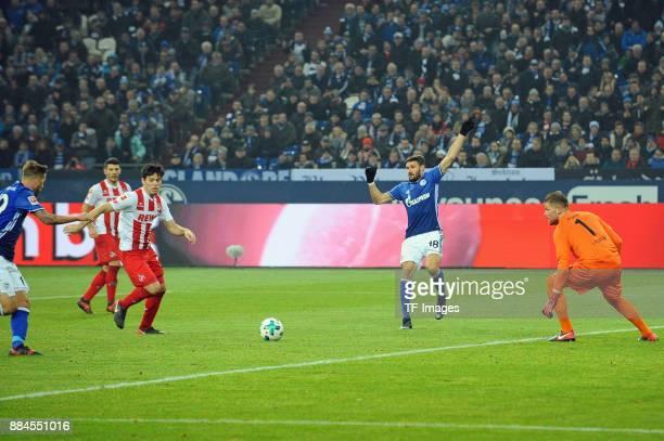 Guido Burgstaller of Schalke scores the team`s first goal during the Bundesliga match between FC Schalke 04 and 1 FC Koeln Bundesliga at VeltinsArena...