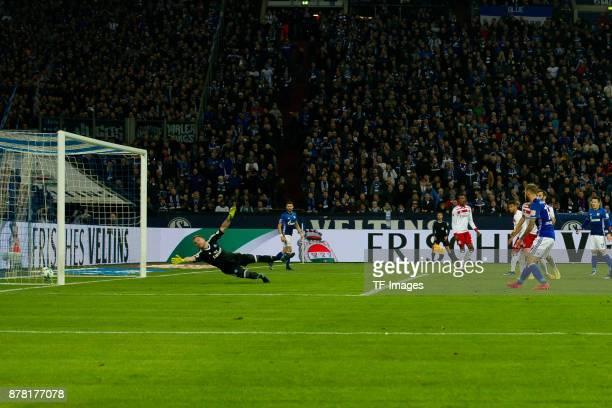 Guido Burgstaller of Schalke scores the team`s second goal during the Bundesliga match between FC Schalke 04 and Hamburger SV at VeltinsArena on...