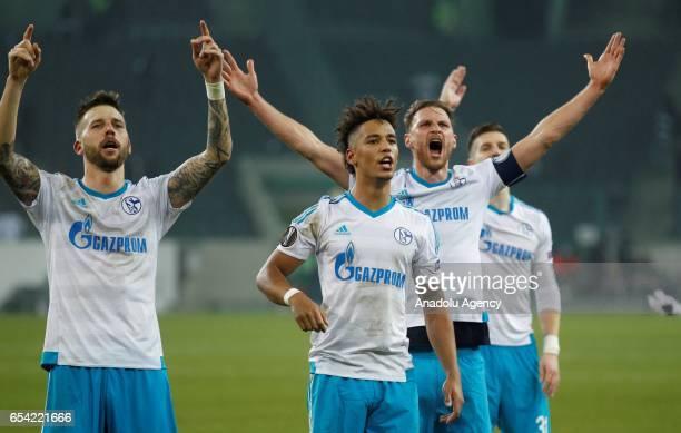 Guido Burgstaller Thilo Kehrer Benedikt Hoewedes and Sead Kolasinac of Schalke celebrate the 22 against Moenchengladbach after the UEFA Europa League...