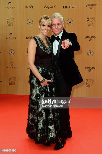 Guido Cantz and his wife Kerstin Ricker and AnneKatrin Hallaschka attend the Bambi Awards 2015 at Stage Theater on November 12 2015 in Berlin Germany