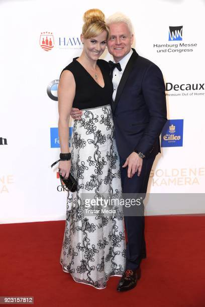 Guido Cantz and his wife Kerstin Ricker attend the Goldene Kamera on February 22 2018 in Hamburg Germany