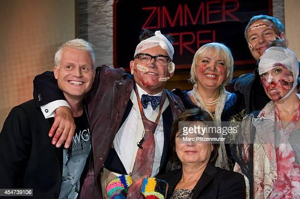 Guido Cantz Goetz Alsmann Claudia Roth Martin Reinl Christine Westermann and Anneke Kim Sarnau attend the 'Zimmer frei ab 18' TV Show at the WDR...
