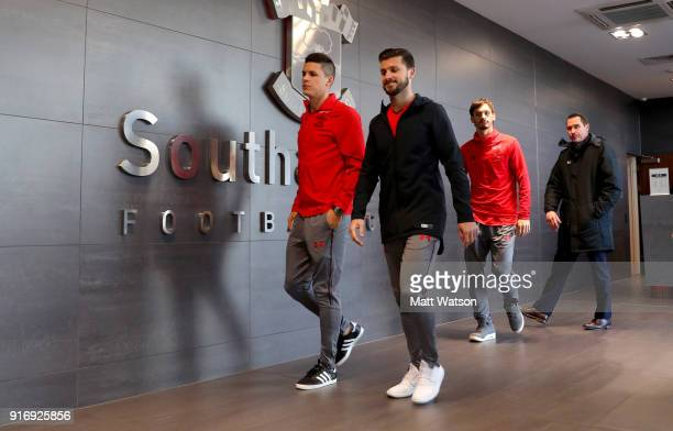 Guido Carrillo and Shane Long of Southampton ahead of the Premier League match between Southampton and Liverpool at St Mary's Stadium on February 11...