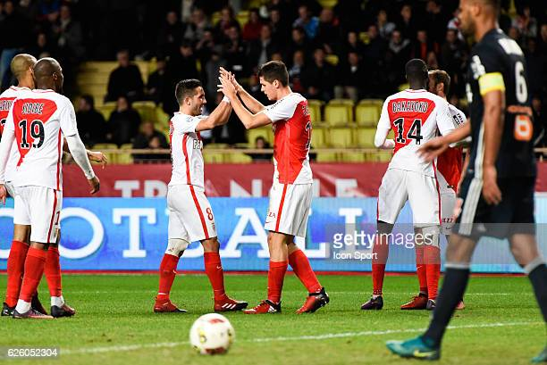Guido Carrillo celebrate his goal with Joao Moutinho of Monaco during the French Ligue 1 match between Monaco and Marseille at Louis II Stadium on...