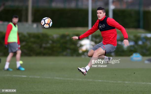 Guido Carrillo during a Southampton FC training session at the Staplewood Campus on February 15 2018 in Southampton England