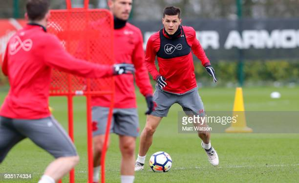Guido Carrillo during a Southampton FC training session at the Staplewood Campus on March 20 2018 in Southampton England
