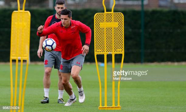 Guido Carrillo during a Southampton FC training session at the Staplewood Campus on March 26 2018 in Southampton England