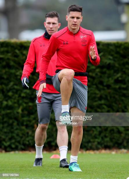 Guido Carrillo during a Southampton FC training session at the Staplewood Campus on March 29 2018 in Southampton England