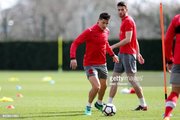 Guido Carrillo during a Southampton FC training session at the Staplewood Campus on April 6 2018 in Southampton England