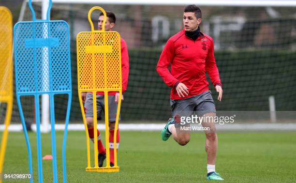Guido Carrillo during a Southampton FC training session at the Staplewood Campus on April 10 2018 in Southampton England