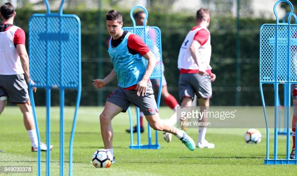 Guido Carrillo during a Southampton FC training session at the Staplewood Campus on April 20 2018 in Southampton England