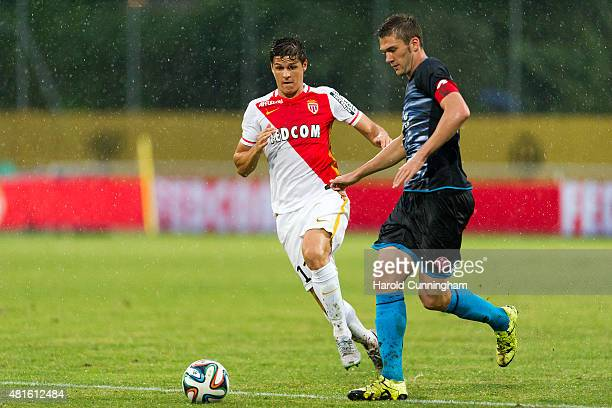 Guido Carrillo of AS Monaco and Stefan Bell of 1 FSV Mainz 05 in action during the preseason friendly match between 1 FSV Mainz 05 and AS Monaco at...