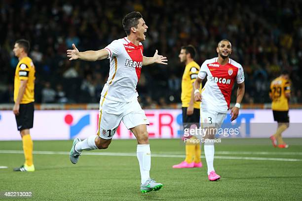 Guido Carrillo of AS Monaco celebrates after scoring his team's second goal during the UEFA Champions League third qualifying round 1st leg match...